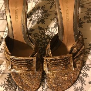 Enzo Angiolini metallic fabric mule sandals